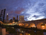 Downtown View and Detroit Avenue Bridge  Cleveland  Ohio  USA