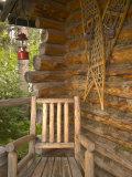 Front Porch of Log House  Athabascan Indian Village  Fairbanks  Alaska  USA
