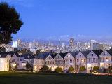 Victorian Houses with Skyline  San Francisco  California  USA