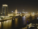 Night View of the Nile River  Cairo  Egypt