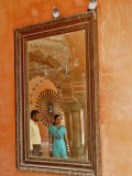 Indian man and woman reflected in mirror  Amber Fort  Jaipur  India