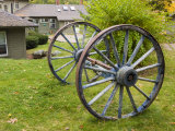 Wagon wheels at Oliver Lodge on Lake Winnipesauke  Meredith  New Hampshire  USA