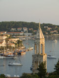 View of town and Adriatic Sea  Hvar Town  Hvar Island  Dalmatia  Croatia