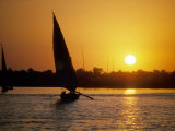 Silhouette of a traditional Egyptian Falucca  Nile River  Luxor  Egypt