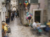 Tourists  shops and restaurants  Korcula Town  Korcula Island  Dalmatia  Croatia