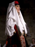 Female folk dancer performing in Diocletian&#39;s Palace  Split  Dalmatia  Croatia