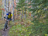 Mountain Biker along The Red Trail  Copper Harbor  Michigan  USA