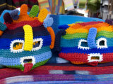 Brightly colored Ecuadorian knit handicrafts  Otavalo Market  Ecuador