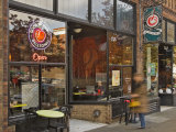 Coffee shop in the Belltown area of Seattle  Washington  USA