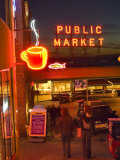 Night lights of Pike Place Market in Seattle  Washington  USA