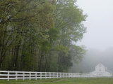 White Farmhouse and Fence in Mist  Powhatan  Virginia  USA