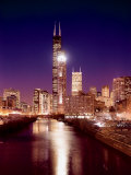 Skyline at night with Chicago River and Sears Tower  Chicago  Illinois  USA