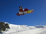 Snowboarder Jumping Halfpipe  Klein Matterhorn  Zermatt  Switzerland