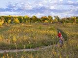 Mountain biking on the Murphy Hanrehan Trails near Minneapolis  Minnesota  USA