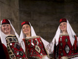 Folk dancers in traditional costumes perform in Diocletian's Palace  Split  Dalmatia  Croatia