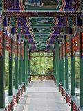 Colorfully painted corridor details  Zhongshan Park  Beijing  China