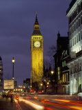 Big Ben at night with traffic  London  England