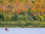 Sea kayaker on Lake Manganese  Copper Harbor  Michigan  USA