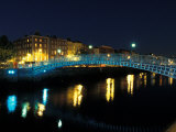 Ha' Penny Bridge over River Liffey  Dublin  Ireland