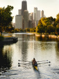 Rowers in Lincoln Park lagoon at dawn  Chicago  Illinois  USA