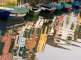 Row of Boats and Colorful Houses  Burano  Venice  Italy