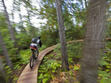 Mountain biking on the Stairway to Heaven Trail in Copper Harbor  Michigan  USA