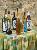 Bottles of local wine on display  Stari Grad Town  Hvar Island  Dalmatia  Croatia