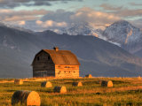 Old Barn Framed By Hay Bales  Mission Mountain Range  Montana  USA