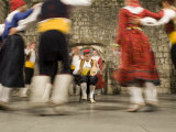 Folk dancers in traditional costumes  Dubrovnik  Dalmatia  Croatia