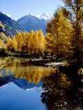 Fall Colors Reflected in Mountain Lake  Telluride  Colorado  USA