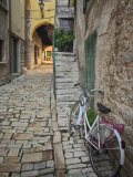 Bicycle and Cobblestone Alleyway  Rovigno  Croatia