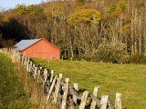 Red Barn and Fence along the Blue Ridge Parkway  Blowing Rock  North Carolina  USA