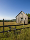 Mountain bike and barn on Birch Hill  New Durham  New Hampshire  USA