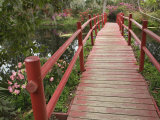 Red Bridge Over Pond in Magnolia Plantation  Charleston  South Carolina  USA