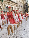 Young woman marching in parade  Split  Dalmatia  Croatia