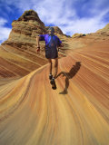 Trail Runner on Sandstone  Coyote Buttes  Utah  USA