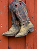 Worn Cowboy Boots Hanging  Ponderosa Ranch  Seneca  Oregon  USA