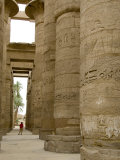 Hieroglyphic covered columns in hypostyle hall  Karnak Temple  East Bank  Luxor  Egypt