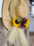 Flower Boquet on Wicker Hat for Wedding Decoration