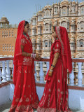 Indian women in color saris  Palace of the Wind  Jaipur  India