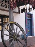 Antique wagon wheel  Old Town Albuquerque  New Mexico