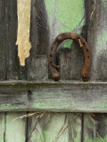 Rusty Horseshoe on Old Fence  Montana  USA