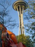 Looking up at the Space Needle  Seattle  Washington  USA