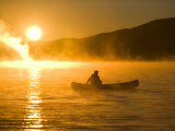Canoeing in Lily Bay at Sunrise  Moosehead Lake  Maine  USA
