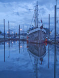 Boats in Harbor at Twilight  Southeast Alaska  USA