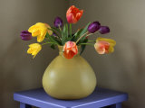 Fresh-Cut Tulips in Antique Glass Vase