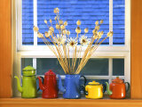 Enamelware Teapots & Coffeepots on Window Sill  Portland  Oregon  USA
