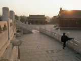 At Dawn  a Man Stretches Below the Temple of Heaven