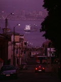 Twilight View of Valparaiso Harbor with Cargo Ship  and Skyline