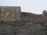 Pilgrims Visit a Huge  Rarely-Unveiled Buddhist Thanka Painting